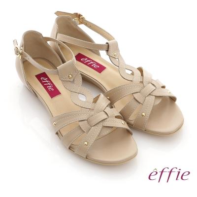 effie-悠閒渡假-全真皮交叉編織平底涼鞋-卡其