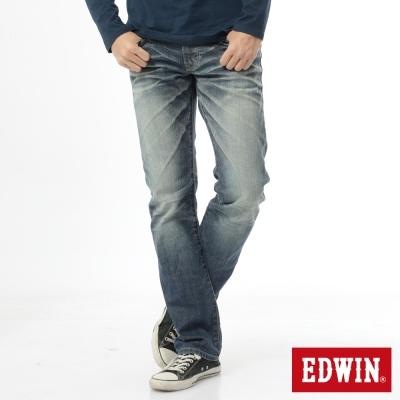 EDWIN 江戶勝 EDGE中直筒牛仔褲-男-拔洗藍