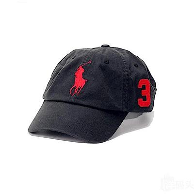 Polo Rlaph Lauren 經典刺繡大馬可調式鴨舌帽-黑色