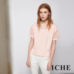 ICHE 衣哲 粉嫩蕾絲雕花拼接打摺顯瘦造型上衣