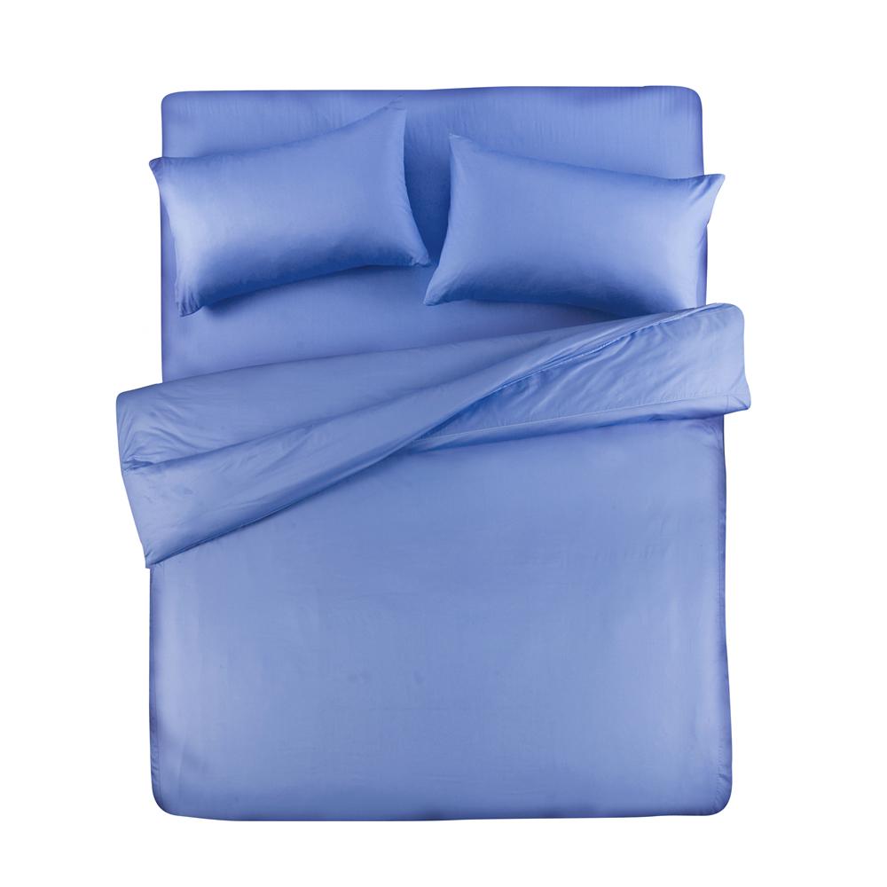 義大利Famttini-典藏原色 雙人四件式精梳棉被套床包組-藍色