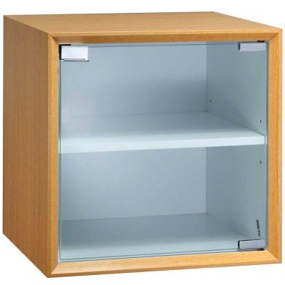 魔術方塊36系統收納櫃/玻璃門櫃-原木色