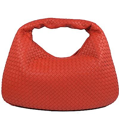 BOTTEGA VENETA編織羊皮單把彎月包(紅)