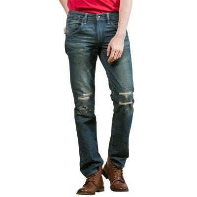 Levis 511 低腰修身窄管牛仔長褲 / 膝蓋補丁 / 磨損破壞