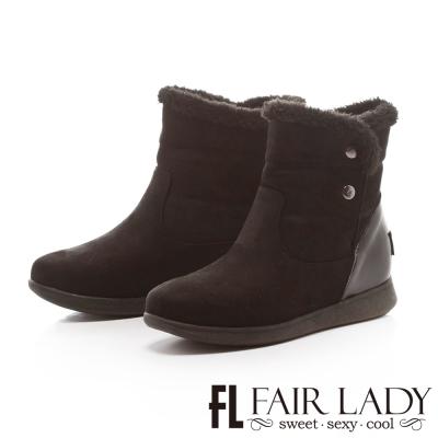 Fair Lady 愛斯基摩釘扣毛雪靴 黑