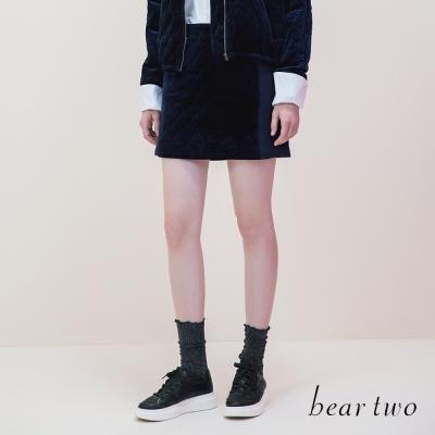 beartwo-菱格車線拼接扣環造型短裙-深藍-動態show