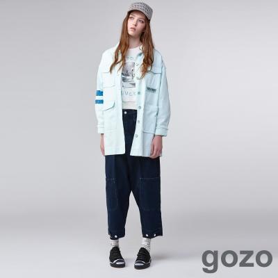 gozo街頭創作工裝牛仔寬褲(深藍)-動態show
