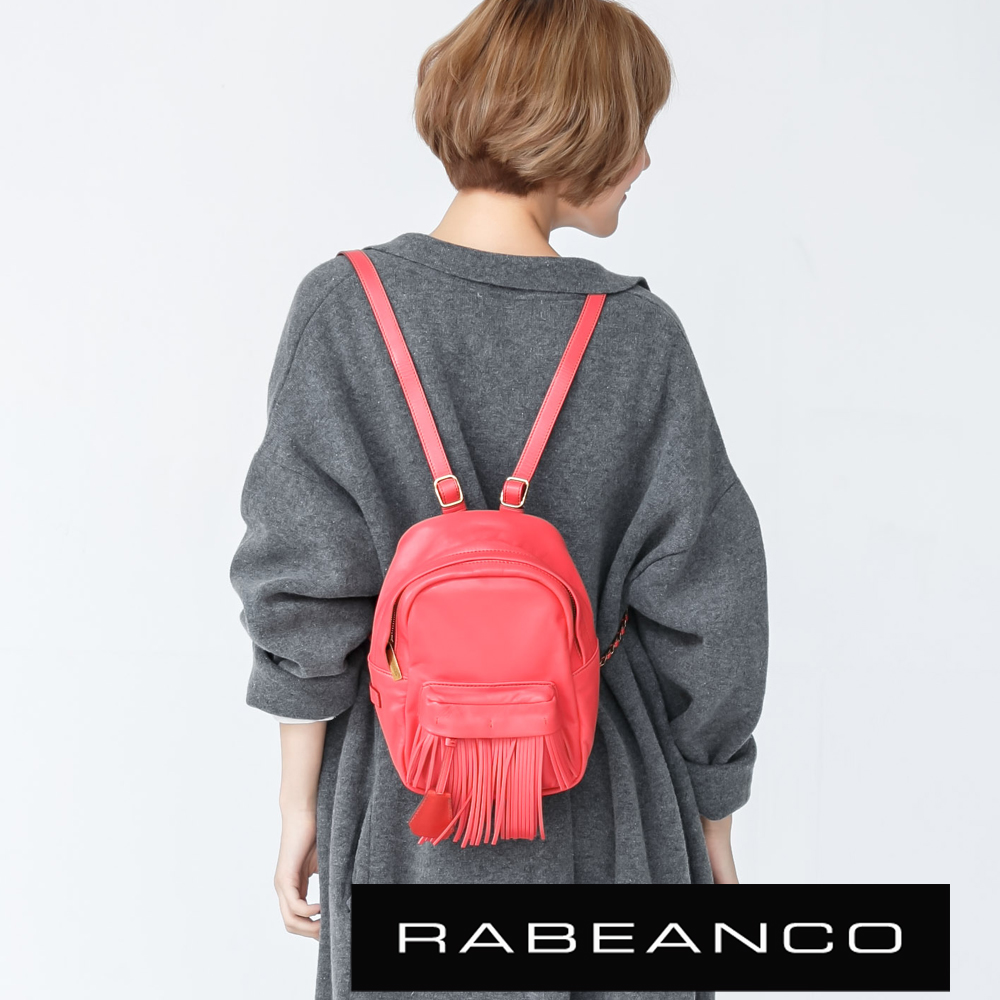 RABEANCO迷時尚羊皮系列流蘇鍊帶迷你後背包紅