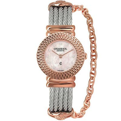 CHARRIOL夏利豪ST-TROPEZ 太陽紋鎖鍊腕錶-粉紅貝面25mm