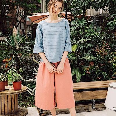 CACO-弧形口袋七分寬長褲(三色)-女【PSH187】