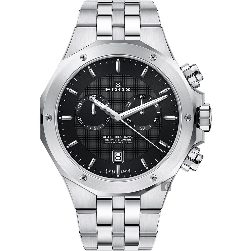 EDOX Delfin 水上冠軍專業200米防水計時碼錶-黑x銀/43mm