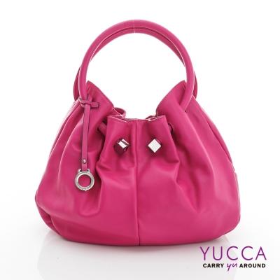 YUCCA - 經典優雅立體球型包-紫紅色 D012812