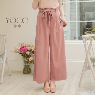東京著衣-yoco 輕甜時髦麂皮絨感蝴蝶結寬褲-S.M.L(共二色)