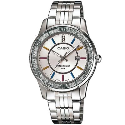 CASIO 簡約風采閃亮時尚日曆指針腕錶(LTP-1358D-7A)-銀白/34mm