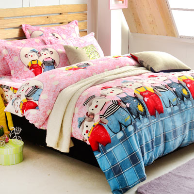 Grace Life 舞動青春 加大法蘭絨被套毯鋪棉床包四件組