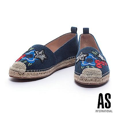 休閒鞋 AS 夏日美艷手縫亮片花牛仔布草編厚底休閒鞋-深藍