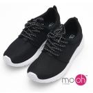 mo.oh-情侶款超輕量網面綁帶慢跑鞋運動鞋-黑白