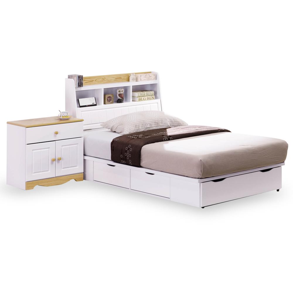 時尚屋 喬納森烤白3.5尺加大單人床台(不含床頭櫃-床墊)