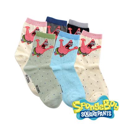 Spongebob海綿寶寶-派大星歡呼棉質童襪6入(21-24cm)