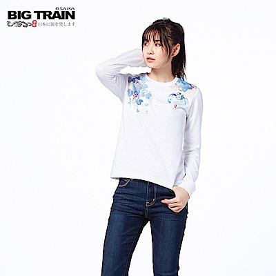 BIG TRAIN 財貓飛燕素口長袖-女-白色