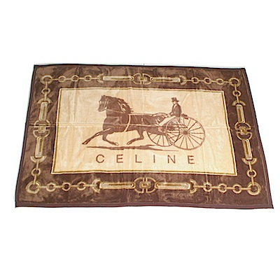 【CELINE】經典首席馬車保暖小蓋毯(咖啡色)
