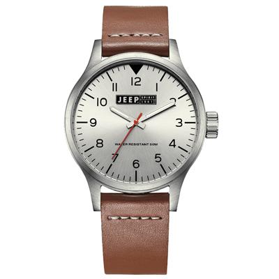 Jeep Spirit 美式派對美國復古風腕錶-銀x褐色/42mm