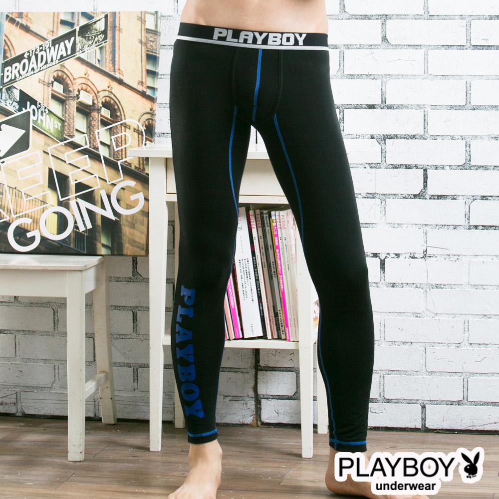 PLAYBOY運動型男流線設計蓄熱保暖內搭褲-黑底藍線