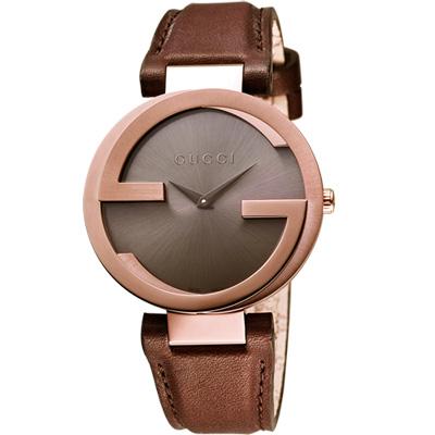 GUCCI Interlocking 時尚元素腕錶-咖啡x玫塊金框/42mm