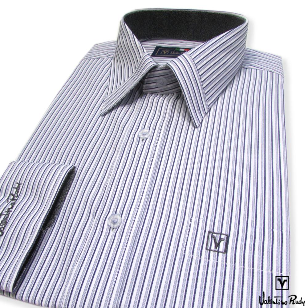 Valentino Rudy范倫鐵諾.路迪-長袖襯衫-白底藍直條