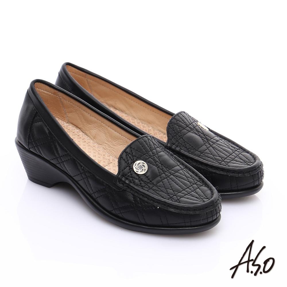 A.S.O 舒適通勤 柔軟幾何壓線奈米跟鞋 黑