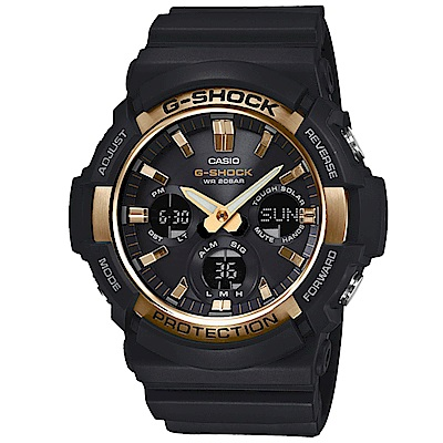 G-SHOCK獨特優雅金屬塗層設計強悍風範休閒錶(GAS-100G-1)金X黑52.5mm