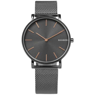 SKAGEN  北歐美學礦石強化玻璃米蘭編織不鏽鋼手錶-鍍灰/38mm