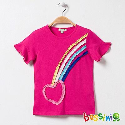 bossini女童-圓領短袖上衣01玫瑰色