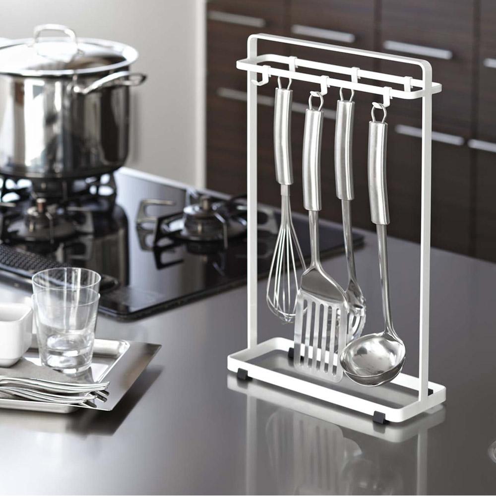 【YAMAZAKI】桌上型極簡廚具掛架-白★廚具架/置物架/掛勾/掛鉤