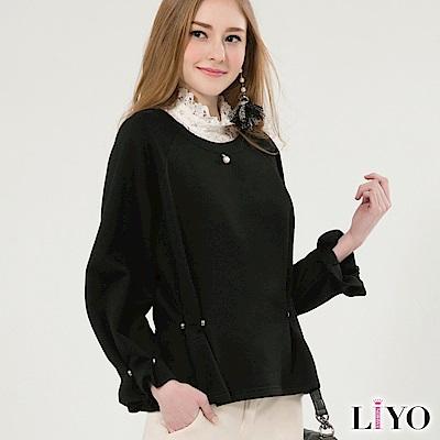 上衣保暖加厚刷毛大學T寬鬆珍珠休閒素色燈籠袖T恤LIYO理優