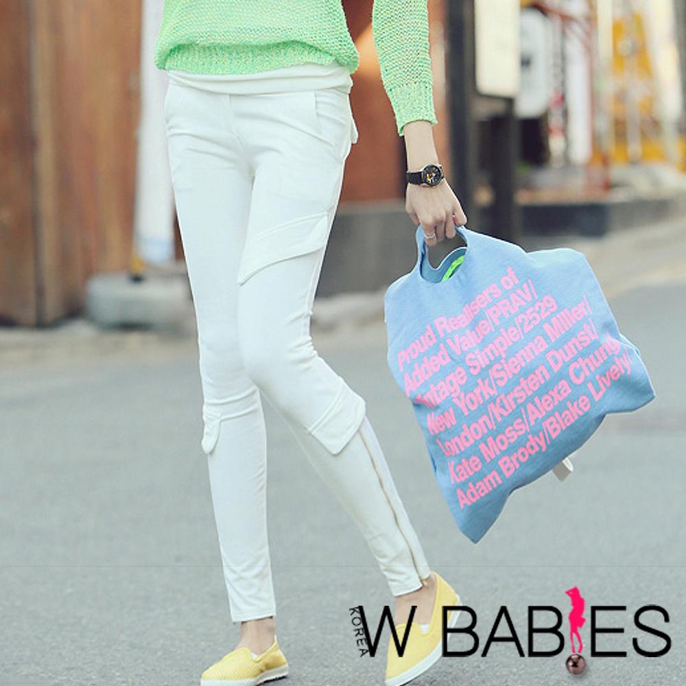 【W BABIES】拉鏈開衩假口袋拼貼棉褲 (共二色)