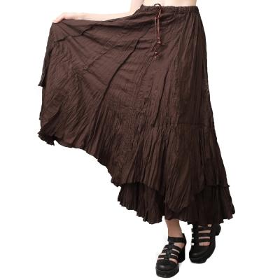 皺摺風咖啡色飄逸壓摺長裙-玩美衣櫃