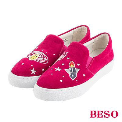 BESO宇宙星球 大夢想家不對稱電繡休閒鞋~桃紅