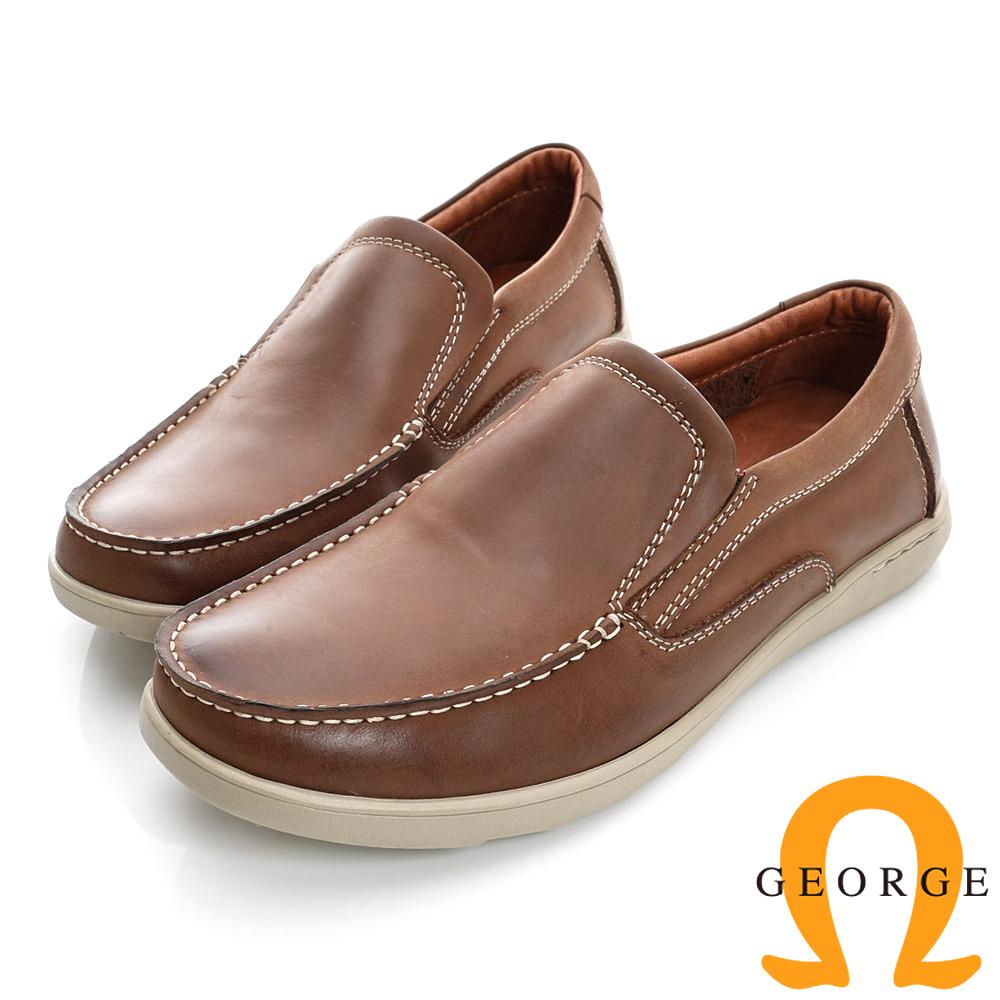GEORGE-經典素面柔軟面料真皮帆船鞋-棕色 @ Y!購物