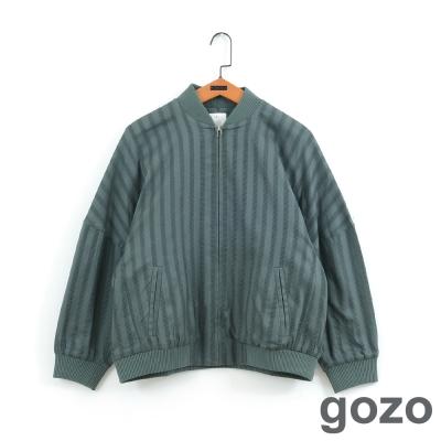 gozo個性主義直條紋飛行員夾克-二色
