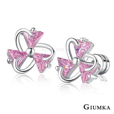 GIUMKA 絢麗花朵 栓扣式耳環-銀色B