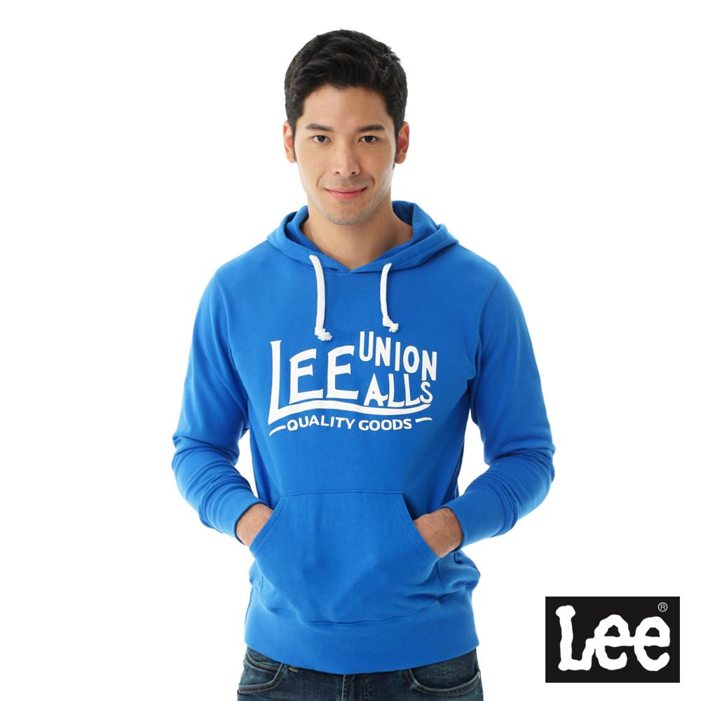 Lee 連帽厚T 白色文字印刷-男款-藍
