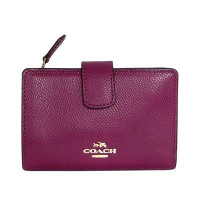 COACH-紅莓紫防刮皮革金字飾牌拉鍊袋中夾