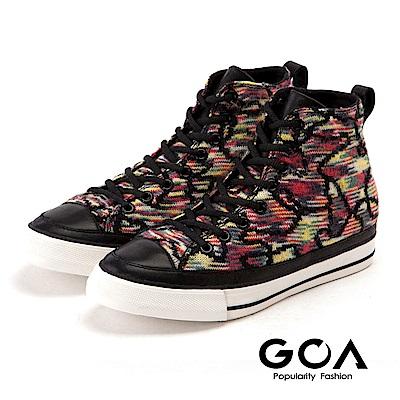 GOA 麗貝卡_內增高針織綁帶休閒鞋-花色