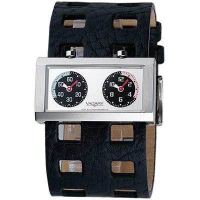 VAGARY 摩登交織雙時區個性錶-黑/40mm