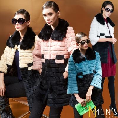 MONS-狐狸毛領兔剪毛撞色大衣-共四色