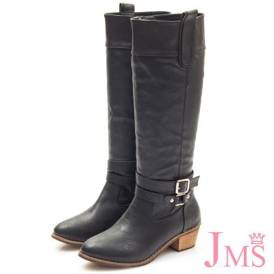 JMS-經典百搭造型雙扣馬蹄跟長靴-黑色