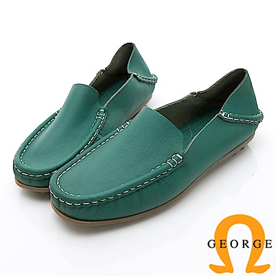 GEORGE 喬治-水洗系列 素面縫線懶人樂福鞋休閒鞋 女鞋-綠