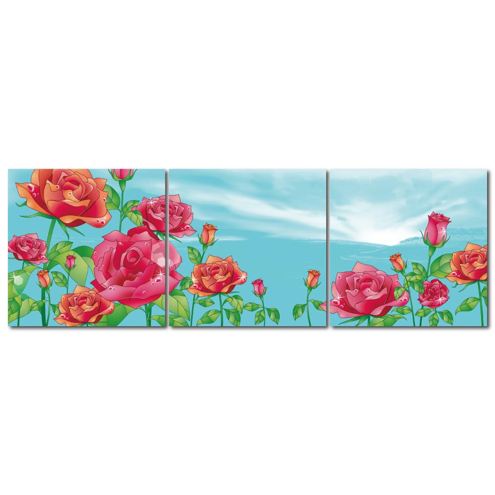 123點點貼- 三聯式花朵風無痕創意壁貼 - 春暖花開 30*30cm