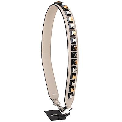 FENDI strap you系列鉚釘造型皮革金釦肩背帶(米色)